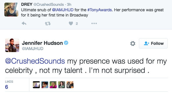 Jennifer Hudson Had a Jaw-Dropping Response to Her 2016 Tony Awards Snub